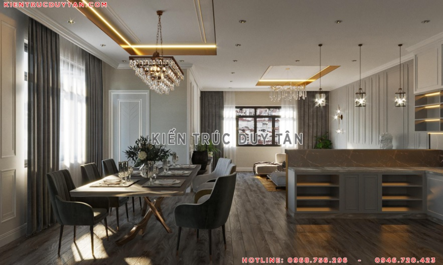 Nội thất phong cách tân cổ điển trong thiết kế phòng ăn – bếp view 1