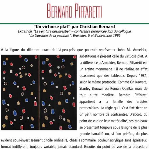 Bernard Piffaretti, un virtuose plat