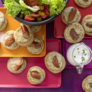 Sausage Crumpets with Salad