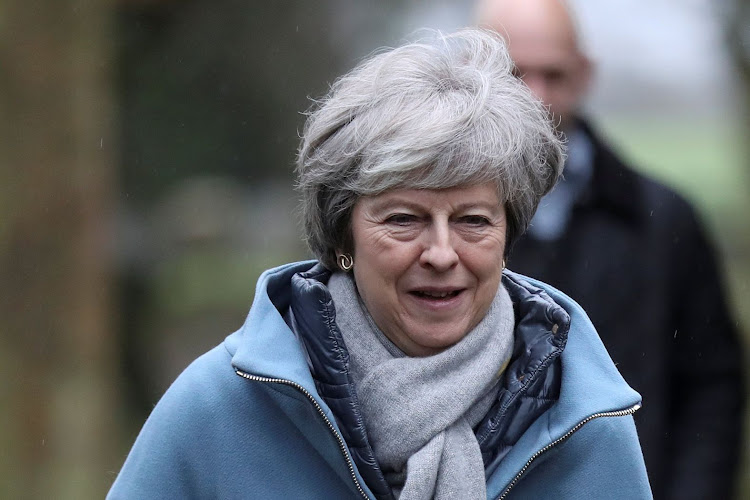 UK Prime Minister Theresa May leaves a church near High Wycombe, Britain, on February 10 2019. Picture: REUTERS/SIMON DAWSON