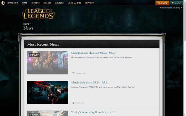 League of Legends Viewed News History