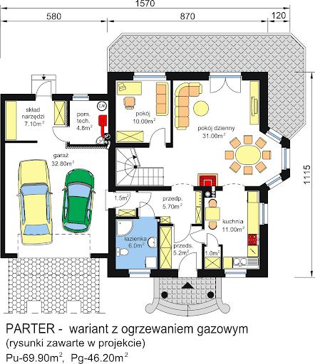 BW-23 garaż 2 stanowiskowy - Rzut parteru - propozycja adaptacji - wersja z ogrzewaniem gazowym