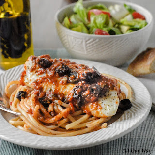 Baked Cod Puttanesca   Seafood with an Italian Spicy Tomato Sauce.