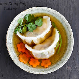 Shrimp Dumpling Suimono (clear soup).