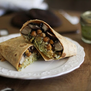 Roasted Portabella and Chickpea Burritos with Chimichurri Sauce