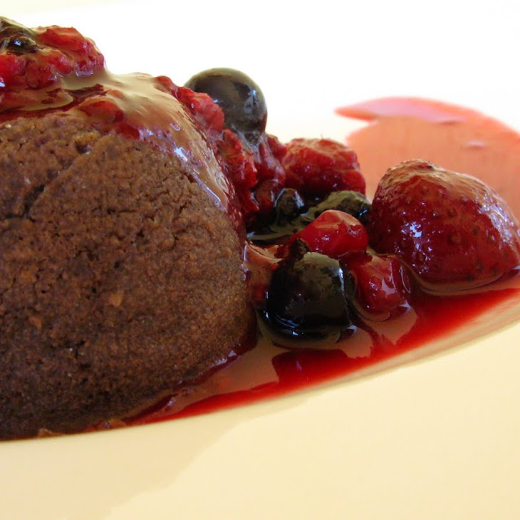 Chocolate Petit Gateau with Berry Sauce