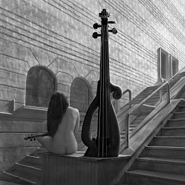 The Violinist by Dariusz Klimczak - Nudes & Boudoir Artistic Nude ( surreal, violin, art, woman, fantasy, town, beauty, city, stairs, body, girl, building, music, dream, monochrome, nude, female, musician, story )