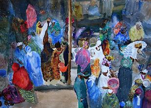 Photo: Mercado de pescado en Mopti, acuarela 70 x 100 cm, 800 €