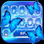 Glitter neon butterfly keyboard theme