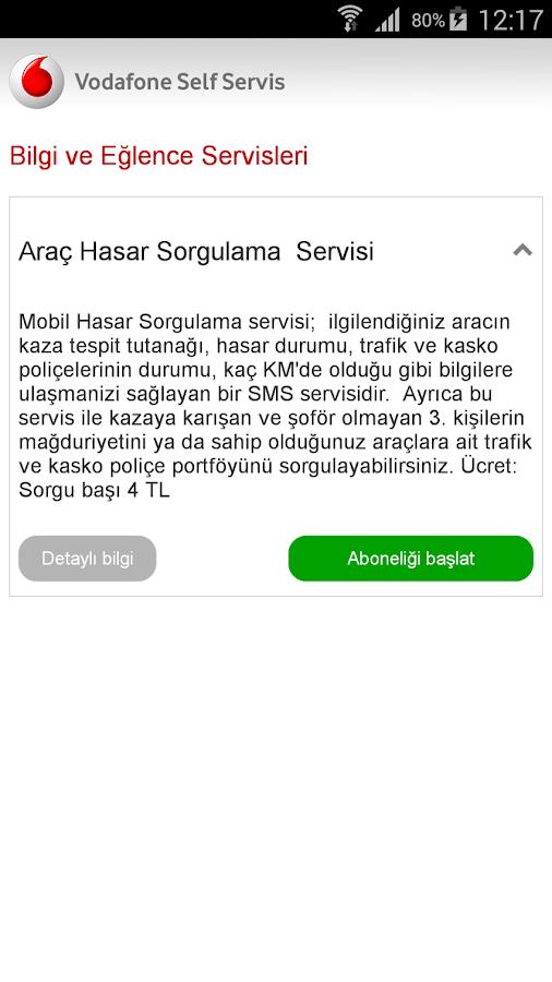 Vodafone Self Servis - screenshot