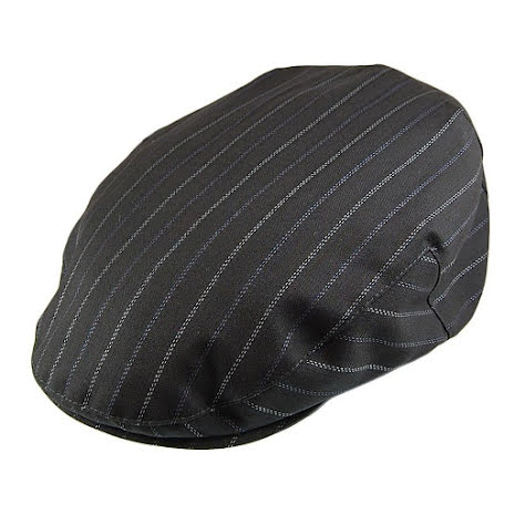 Pinstripe Flat Cap, svart