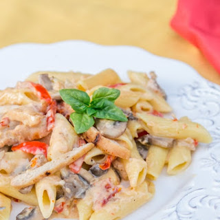 Chicken and Vegetable Penne Alfredo.