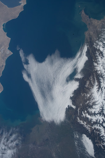 An Expedition 55 crew member photographed a cloud formation over the Caspian Sea surrounded by the countries of Azerbaijan Iran and Turkmenistan.