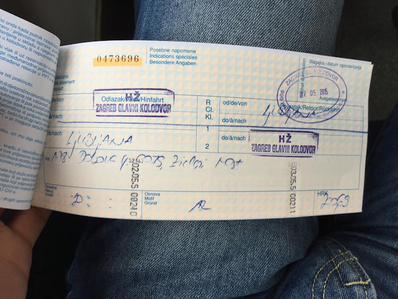 ザグレブからリュブリャナまでのチケット