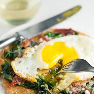 Spinach, Crispy Prosciutto, Egg Socca Pizza.