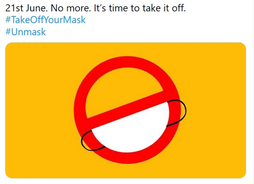 This hijack of the Take Off Your Mask hashtag turned the message on its head