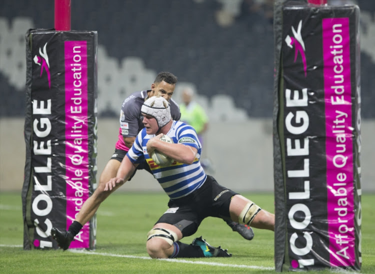 Ernst van Rhyn of the DHL Western Province and Jean-Paul Lewis of the iCollege Pumas during the Currie Cup match at Mbombela Stadium on August 31, 2018 in Nelspruit, South Africa.