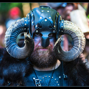 Horned Warrior by Elk Baiter - People Musicians & Entertainers ( warrior, maryland, festival, medieval, renaissance, horns, costume, viking,  )