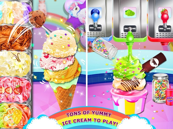 Rainbow Ice Cream - Unicorn Party Food Maker Android 12