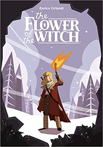 A wintery background with an edge of black flowers. A blonde teen is in the middle of the cover holding up a torch, he has long blonde hair and is wearing a red overcoat, a white scarf, white shirt and green pants. He also has cream colored wraps around his arms and legs.   At the top of the cover in white is the title, The Flower of the Witch.