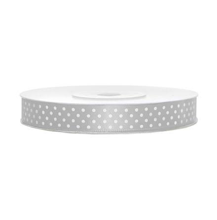 Satinband - Silver med vita prickar