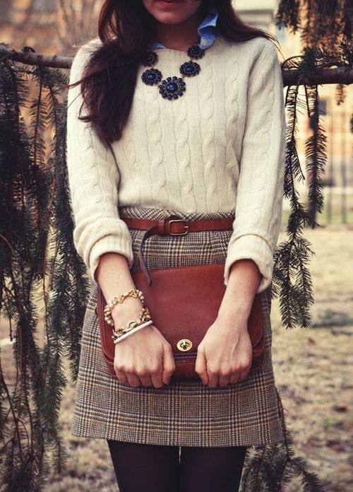 Lovely outfit with cream knitted sweater and plaid skirt for Light Spring women