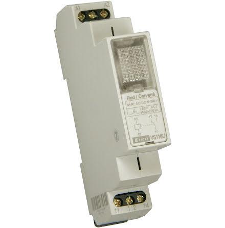 Relä 12-240VAC/DC, vit lampa, växlande kontakt 16A, 1 modul