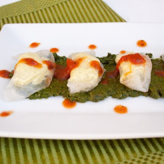 Tofu Ricotta Ravioli with Sun-Dried Tomato Basil Pesto.