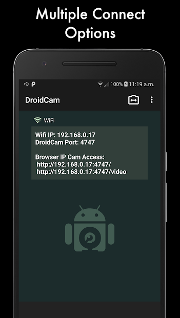 DroidCamX Wireless Webcam Pro Android App Screenshot