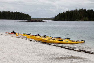 Photo: The rising tide begins to reach the kayaks