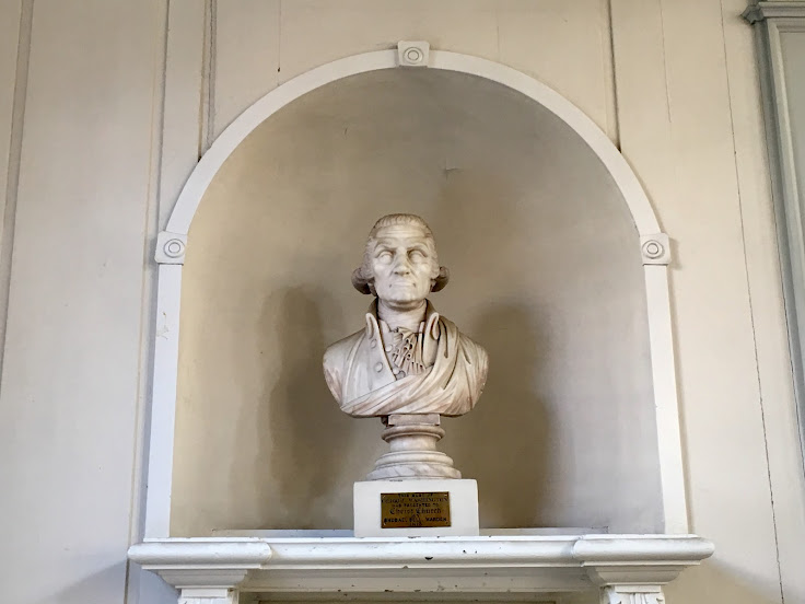 The realistic bust of George Washington.