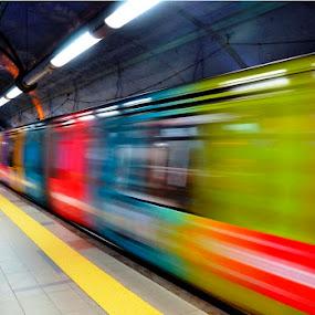 Rainbow Train by Eugénio Buchinho - Transportation Trains ( speed, metro, lisbon, rainbow )