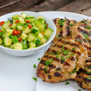 Grilled Turkey Burgers with Cucumber Salad.