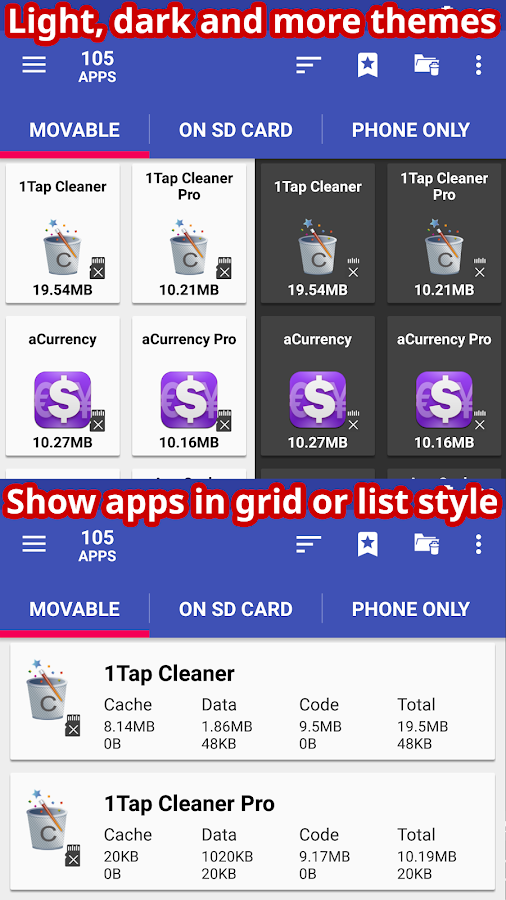 AppMgr Pro III (App 2 SD, Hide and Freeze apps)- screenshot