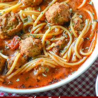 Slow Cooker Spaghetti & Meatballs Soup Recipe