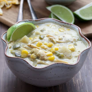 Slow Cooker Roasted Poblano and Corn Soup.