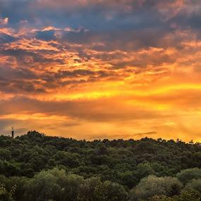 Sunset by Lubomir Gobs - Landscapes Sunsets & Sunrises ( statue, d700, sunset, nikon, slovakia )