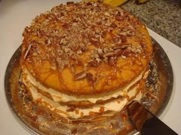 4 layer Pumpkin caramel pecan cake