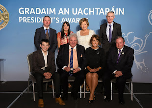 Photo: 6 February 2015; Uachtarán Chumann Lúthchleas Gael Liam Ó Néill with President's Awards recipient Fergal McCormack, St. Peters Club, Warrenpoint, Co. Down, and his family and friends. Croke Park, Dublin Picture credit: Paul Mohan / SPORTSFILE *** NO REPRODUCTION FEE ***