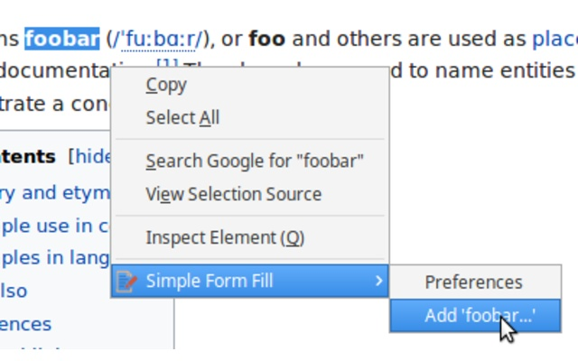Simple Form Fill