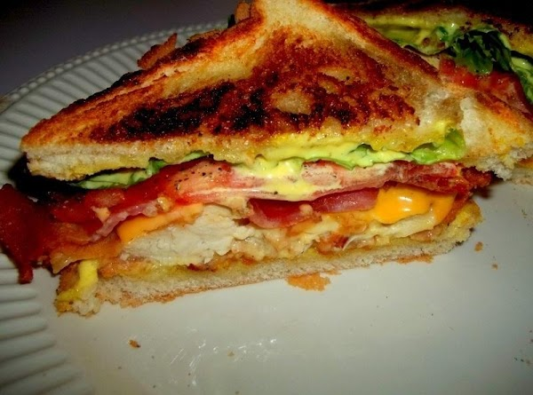 On the second piece of toast spread another tablespoon of honey mustard and place...