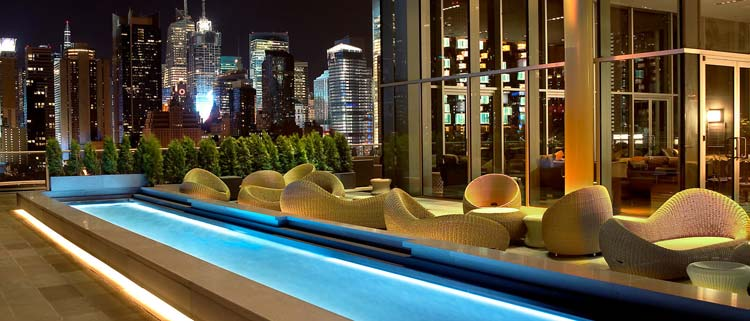 Take in the Manhattan cityscape at the Press Lounge atop the Ink48 Hotel.
