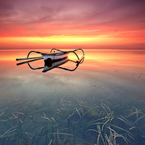 Burning Sky by Agoes Antara - Transportation Boats