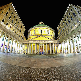 Saint Carlo's church by Romano Alberto Basso - Buildings & Architecture Public & Historical ( milan, chhurch, italy, downtown, nightscape )