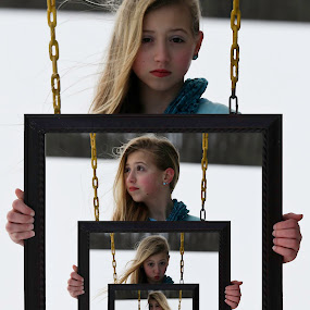Framed by Caitlin Scroggins - Babies & Children Child Portraits ( canon, wind, unique, creative, framed, tamron 180, tamron, portrait, expressions, sister, child, 7d, girl, frames, color, snow, endless, photoshop )