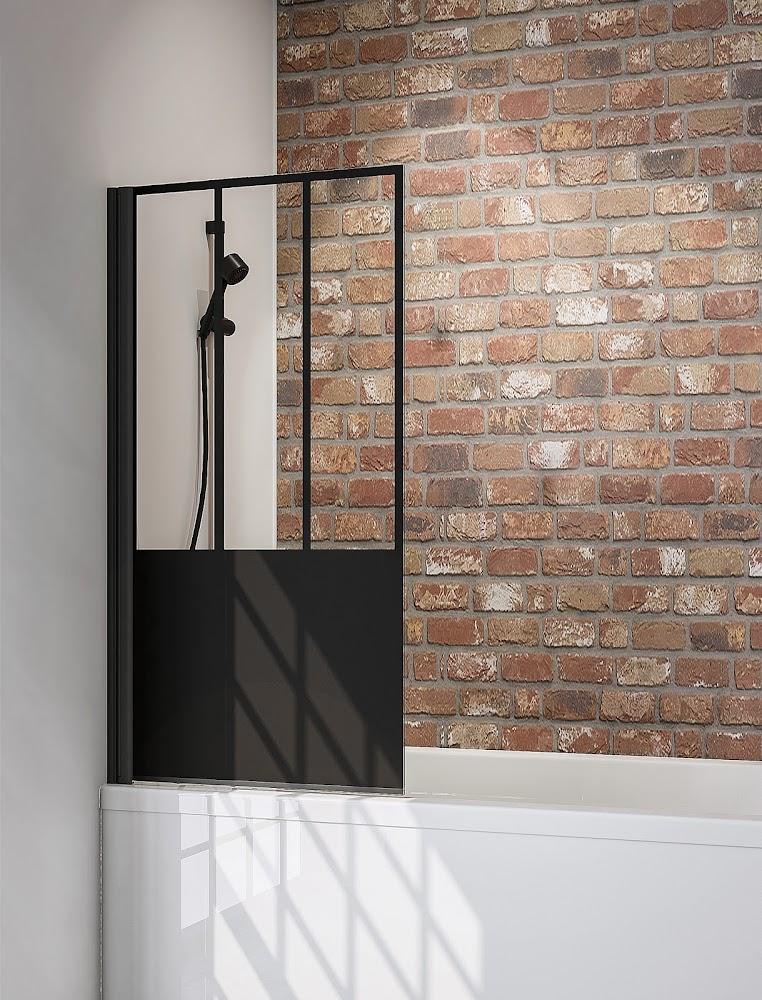 1 volet pare baignoire 80 x 140 cm 1 volet atelier 5 style industriel profile noir
