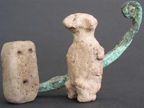 Photo: 3800-3500BC ma'adi [meseniu] ... Horus the lotus dwarf, lord of Mesen, who stands on a low pedestal