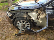 The damage to Audi A6 of the Worman family after hitting a tree while escaping armed hijackers in Midrand.