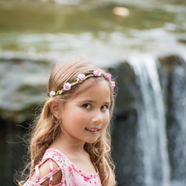 By the waterfall by Judy Deaver - Babies & Children Child Portraits ( waterfall, portrait, summer )