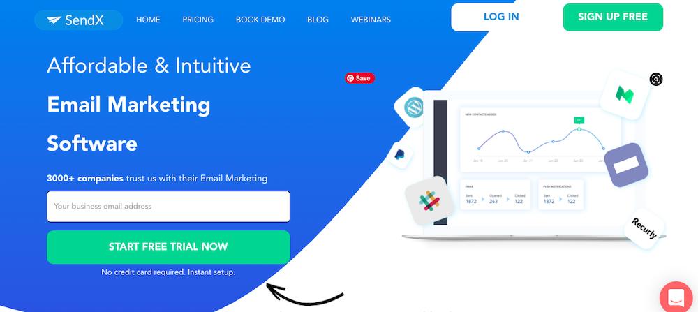 SendX website home page
